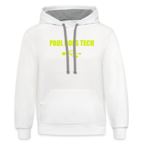 Paul Does Tech Yellow Logo With USB (MERCH) - Contrast Hoodie