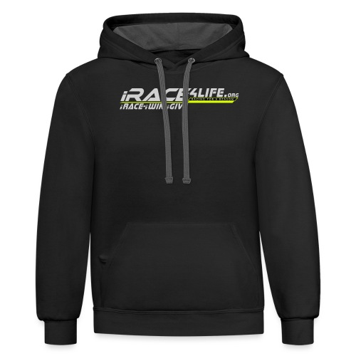 iRace4Life.org Gray Logo w/ iRace-iWin-iGive! - Unisex Contrast Hoodie