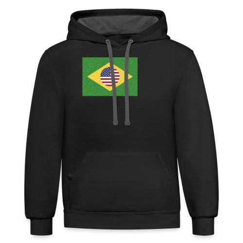 Brazil and USA Flag - Contrast Hoodie