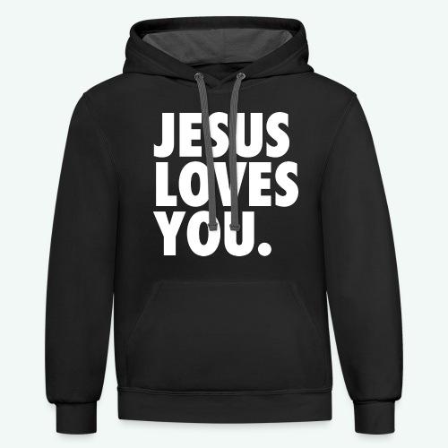 JESUS LOVES YOU - Unisex Contrast Hoodie
