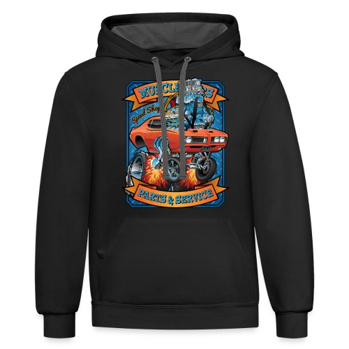 Classic Sixties Muscle Car Parts & Service Cartoon - Contrast Hoodie