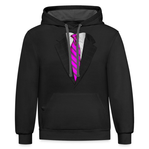 Pink Suit Up! Realistic Suit & Tie Casual Graphic - Unisex Contrast Hoodie