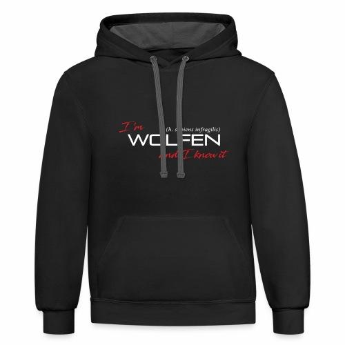 Wolfen Atitude on Dark - Unisex Contrast Hoodie