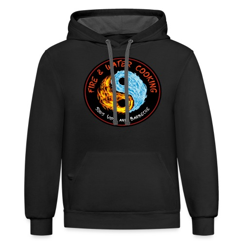 Fire & Water Cooking Full Sized Logo - Unisex Contrast Hoodie