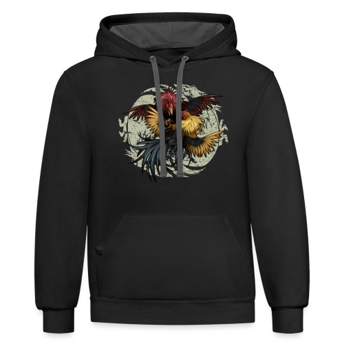 Ying Yang Gallos by Rollinlow - Contrast Hoodie