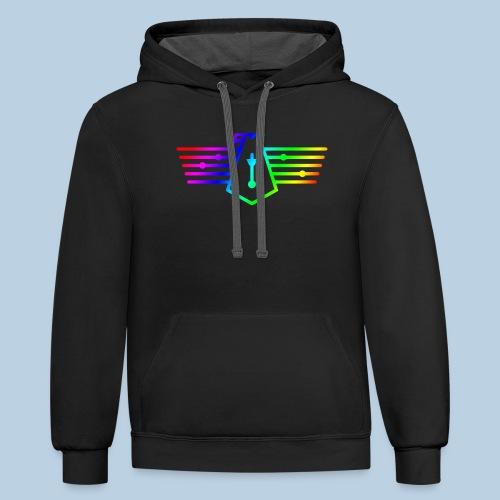 Westport Bird Rainbow on transparent - Unisex Contrast Hoodie