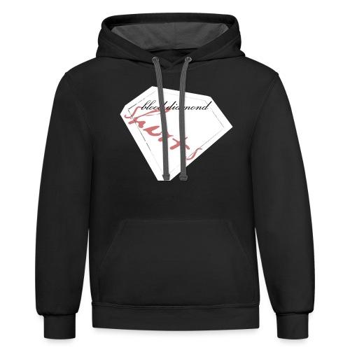 Blood Diamond -white logo - Contrast Hoodie