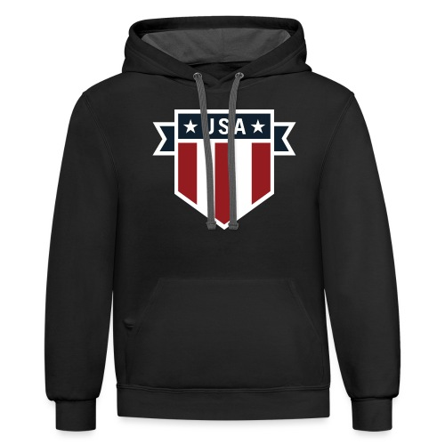 USA Pride Red White and Blue Patriotic Shield - Contrast Hoodie