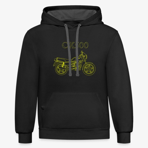 CX500 line drawing - Unisex Contrast Hoodie