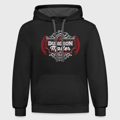 dungeon master filigree fantasy gift d20 shirt - Unisex Contrast Hoodie