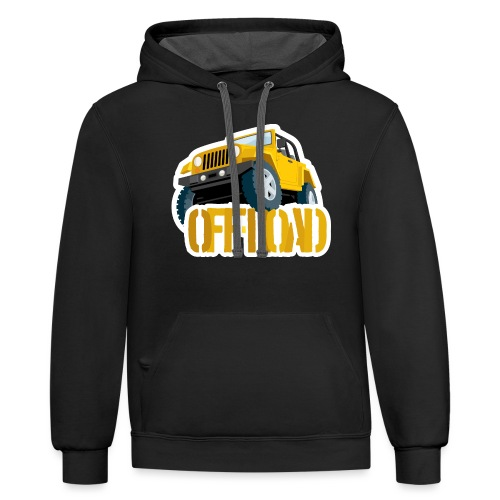 Yellow 4X4 off-road Jeep - Contrast Hoodie