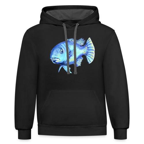 blue fish - Contrast Hoodie