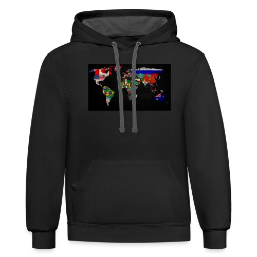 World Map - Contrast Hoodie