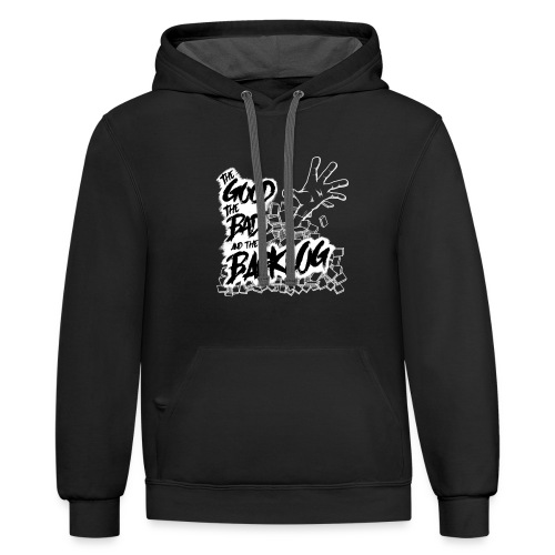 The Good, the Bad, and the Backlog - White logo - Unisex Contrast Hoodie