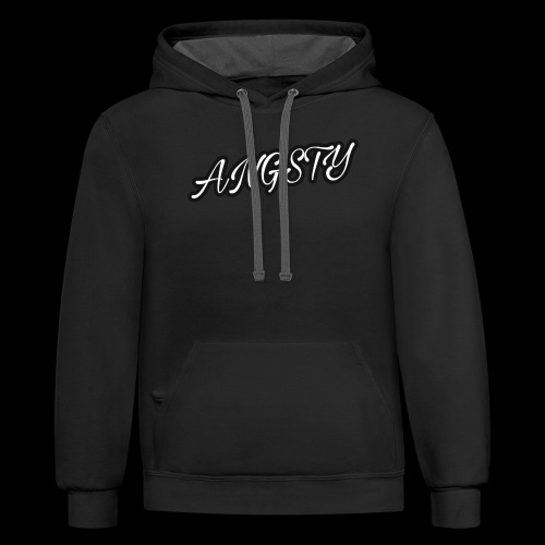 Angsty Handwritten Font Collection - Unisex Contrast Hoodie