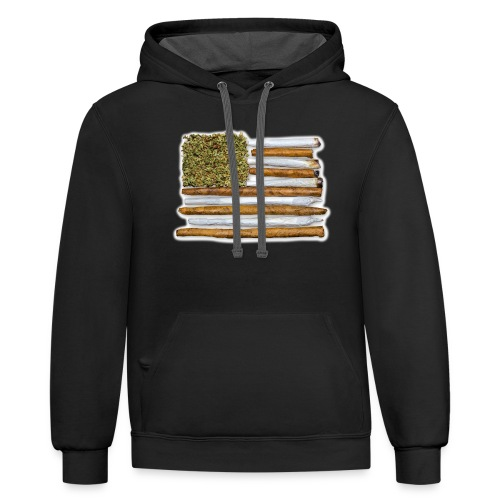 American Flag With Joint - Unisex Contrast Hoodie