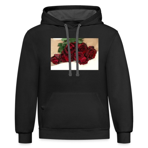 red rose bouquet on table - Unisex Contrast Hoodie