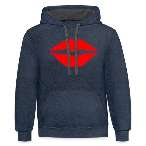 Red Lips Kisses - Contrast Hoodie