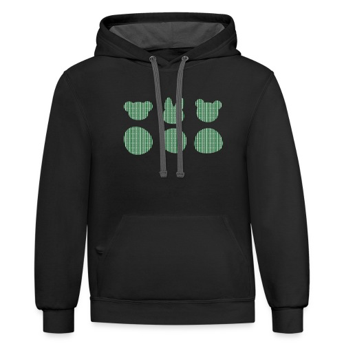 Three Smizdas in green and white - Contrast Hoodie