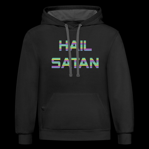 Hail Satan - Vaporwave - Unisex Contrast Hoodie