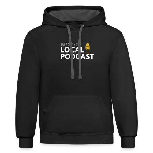 Support your Local Podcast - Local 724 logo - Unisex Contrast Hoodie