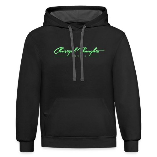 Christyal Thoughts C3N3T31 Lime png - Unisex Contrast Hoodie