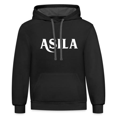 Asila Logo A4 RGB White - Unisex Contrast Hoodie