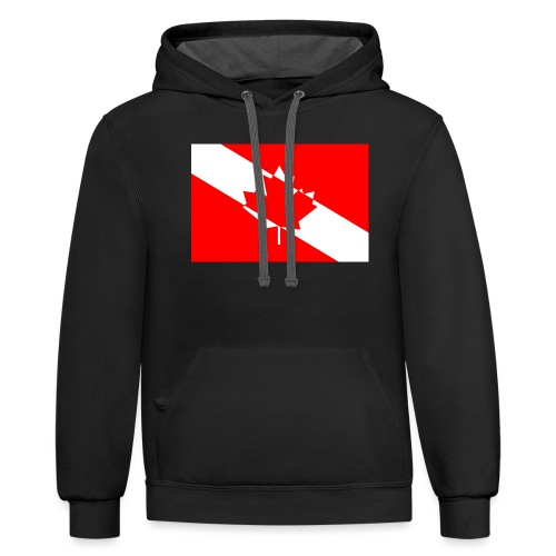 Canadian Diver Flag in Red & White - Contrast Hoodie