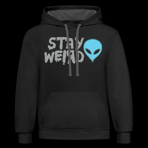 Stay Weird! Alien - Unisex Contrast Hoodie