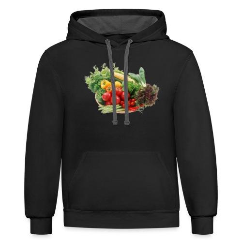 vegetable fruits - Unisex Contrast Hoodie