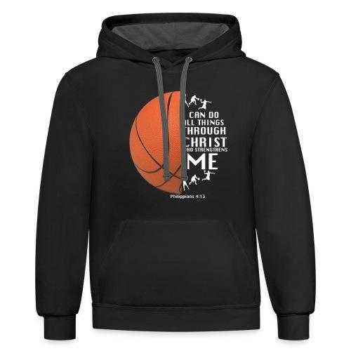 Philippians 4:13 - Basketball - Contrast Hoodie