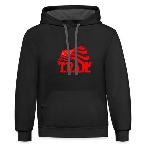 New Tran Logo Transparent RED png - Contrast Hoodie