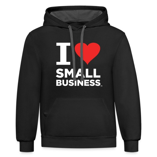I Heart Small Business Logo (Red & White) - Unisex Contrast Hoodie