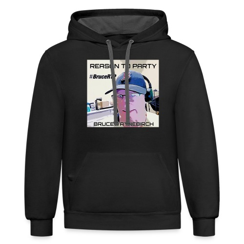 Reason to Party Tshirt #BruceRTP - Unisex Contrast Hoodie