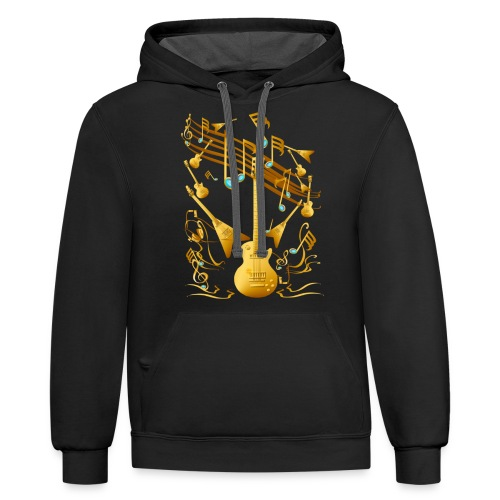 Gold Guitar Party - Contrast Hoodie