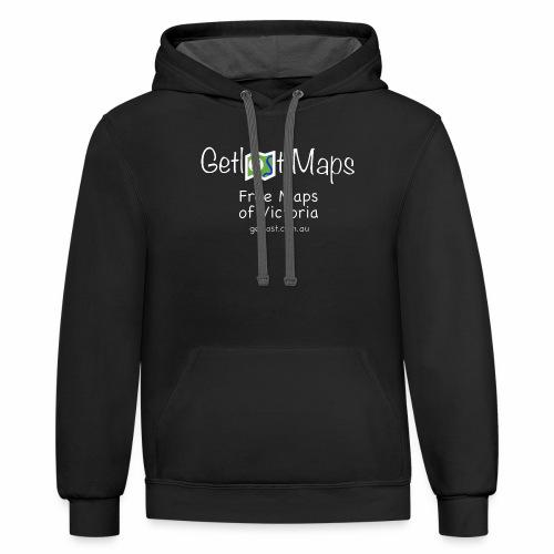 Getlost Maps Full White - Contrast Hoodie