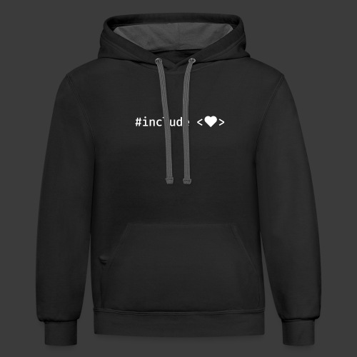 White Include Heart - Contrast Hoodie