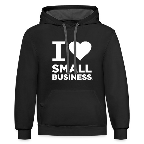 I Heart Small Business Logo (All White) - Unisex Contrast Hoodie