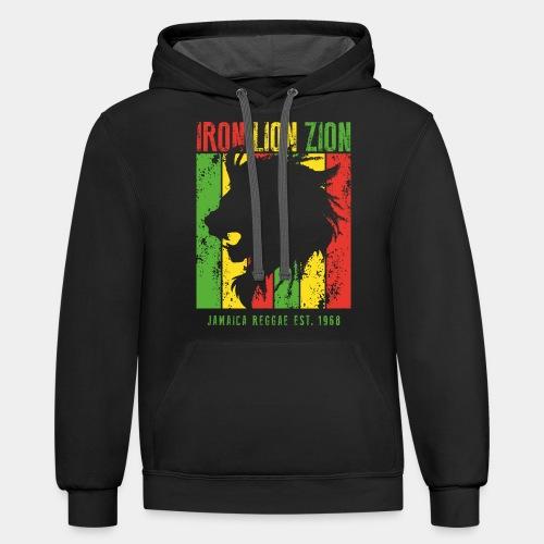 iron lion jamaica reggae - Contrast Hoodie