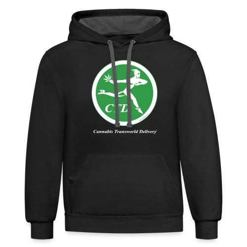 Cannabis Transworld Delivery - Green-White - Unisex Contrast Hoodie