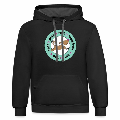 Dogs' Circle of Happiness - Unisex Contrast Hoodie