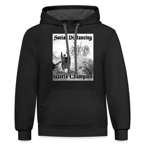 Social Distancing World Champion - Contrast Hoodie