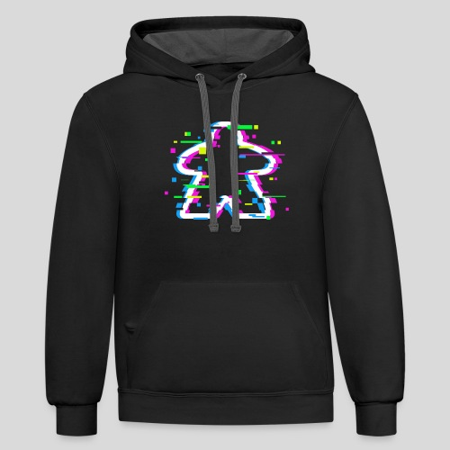 Glitched Meeple - Unisex Contrast Hoodie