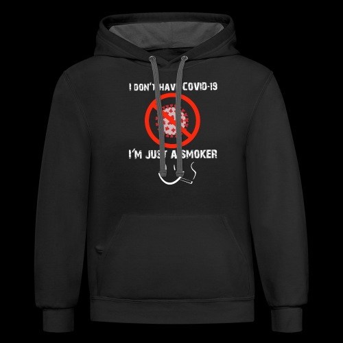 Smokers cough, covid 19 - Unisex Contrast Hoodie