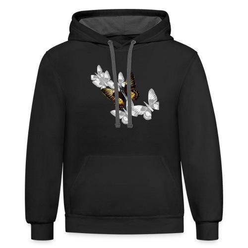 Bullet With Butterfly Wings In Flight. - Unisex Contrast Hoodie