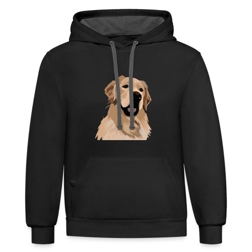 Hand illustrated golden retriever print / goldie - Unisex Contrast Hoodie