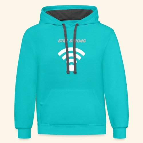 stay strong wifi - Contrast Hoodie