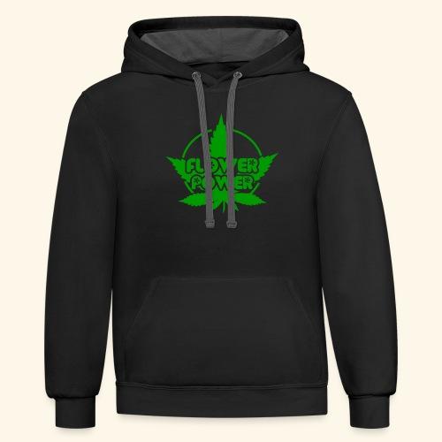 Flower Power Smoker - 420 Hippie Shirt men/women - Contrast Hoodie