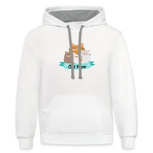 Cat MOM, Cat Mother, Cat Mum, Mother's Day - Contrast Hoodie