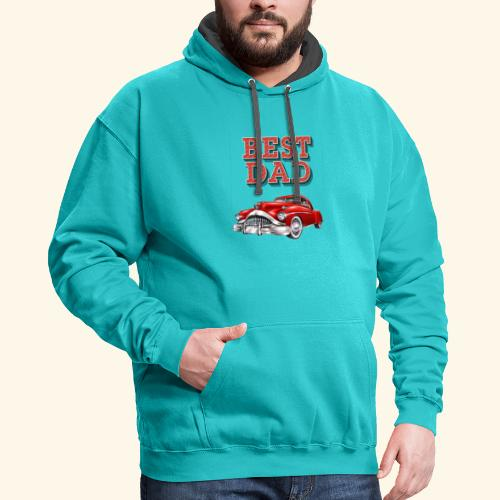 Best Dad Classic Car Design Fathers Day - Contrast Hoodie